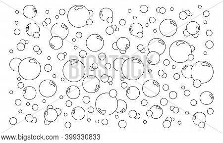 Cartoon Bubbles Vector Line Background. Pattern Soap Foam, Bath Suds, Effervescent Water, Soda Or Ch
