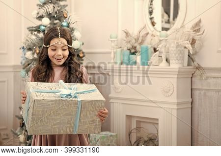 Theres No Surprise Bigger. Surprised Child. Little Girl Hold Surprise Box. Happy Kid Celebratexmas A