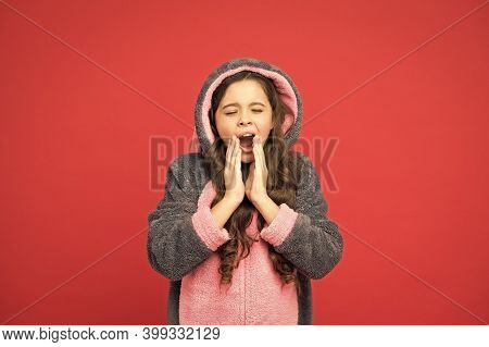 Say Good Night. Yawny Child Red Background. Little Girl Yawn In Pajamas. Bedtime. Bed Time. Lounge T