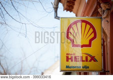 Subotica, Serbia - March 28, 2019: Shell Helix Logo On One Of Their Retailer Garages In Subotica.  S