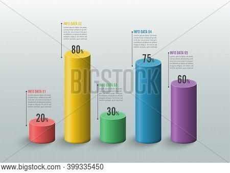Graphs And Charts. Statistic And Data, Iinfographic Business Concept With 5 Options For Content, Dia