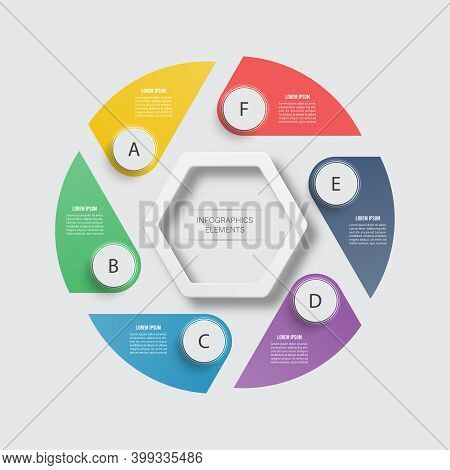 Vector Infographic Design Template. Business Concept With 6 Options, Parts, Steps Or Processes. Can