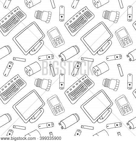 Outline Seamless Pattern With Sorted E-wast Garbage Isolated On White Background. Vector Hand Drawn