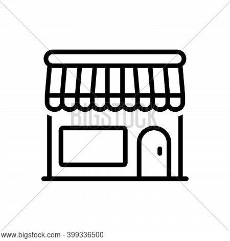 Black Line Icon For Commercial Business Supermarket Storefront Store Shop Restaurant Retail Market G