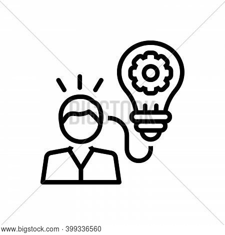 Black Line Icon For Expert Development Learning Concept Efficiency Capability Bulb Idea