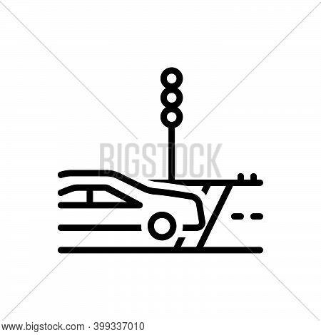 Black Line Icon For Cross Travel-across Travel Cross-road Path Zebra-crossing Traffic-light Car Tran