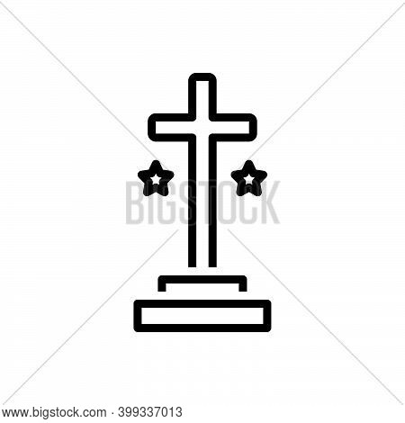 Black Line Icon For Cross Holy Spirituality Sign Crucifix God Catholic Jesus Faith Mythology Belief