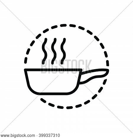 Black Line Icon For Pan Kitchenware Frying-pan Hot Utensil Vessel Steamship Appliance Cookery Cuisin