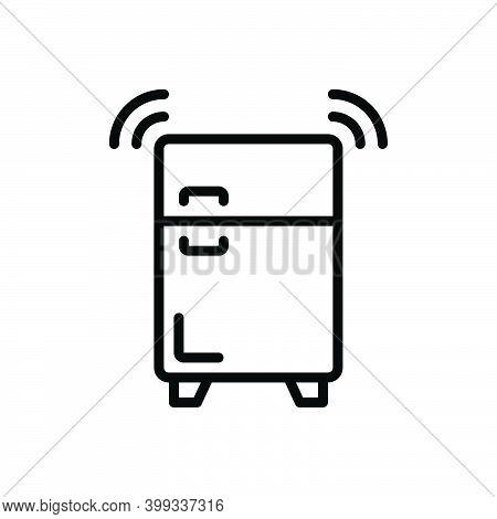 Black Line Icon For Refrigerator Coolness Freezer Fridge Storage Stock Stockpile Storehouse Keeping