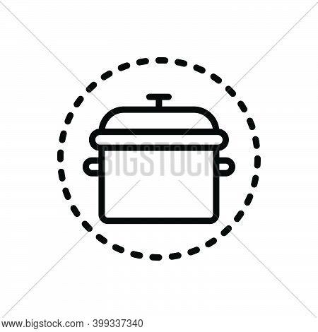 Black Line Icon For Pot Kitchenware Tagine Utensil Vessel Steamship Appliance Cookery Cuisine Culina