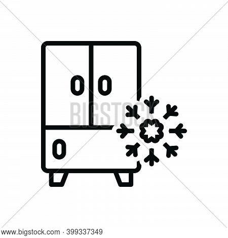 Black Line Icon For Refrigerator Frost Coolness Freezer Fridge Storage Household Stockpile Storehous