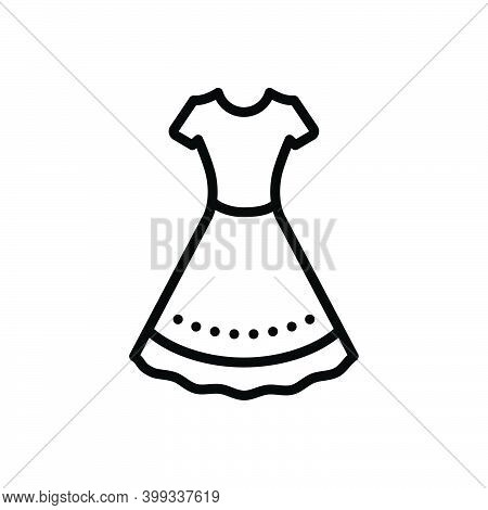 Black Line Icon For Dress Frok Cloths Fashion Costume Attire Raiment Garment