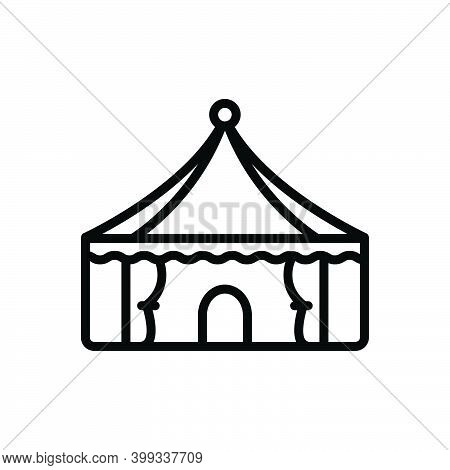 Black Line Icon For Tent Lodgement Pavilion Camp Marquee Awning Canopy