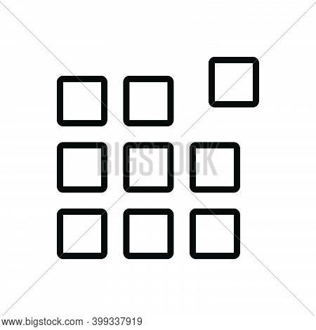 Black Line Icon For Pixel Pattern Picture-element Raster Pel Element