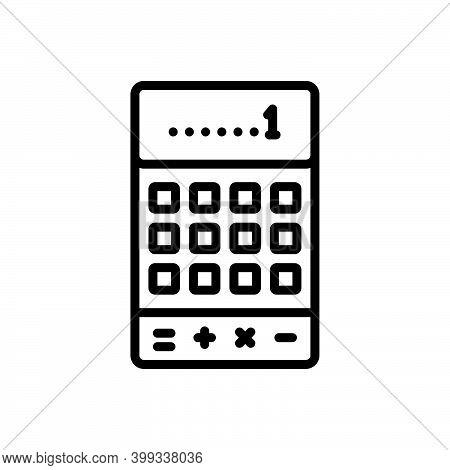Black Line Icon For Calculator Financial Accounting Mathematics Addition Calculate Digital