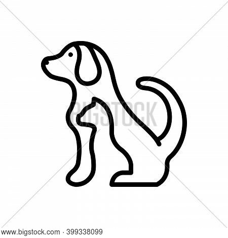 Black Line Icon For Pet Tame Dog Domestic Animal Cherished Endearing