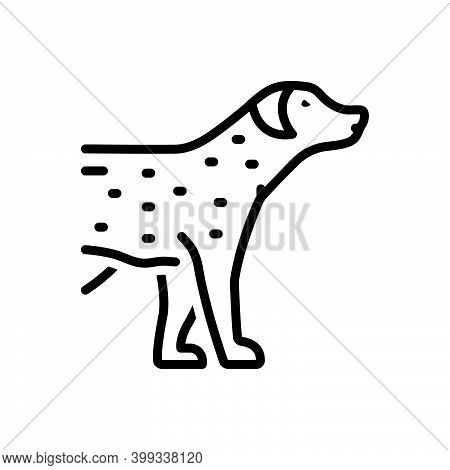 Black Line Icon For Pet Tame Faithful Dog Domestic Animal Cherished Endearing