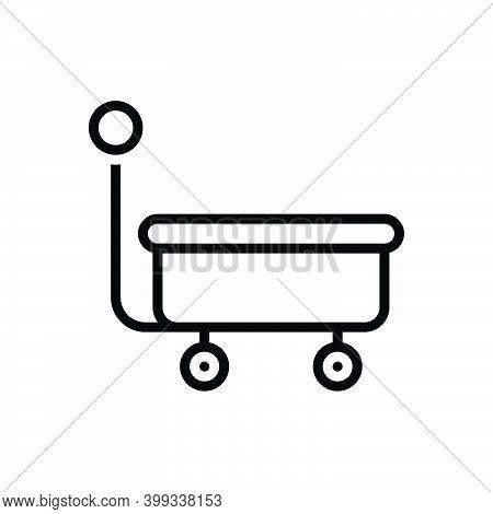 Black Line Icon For Wagon Caravan Cart Carriage Trolley Mine Bogie Mine-trolley