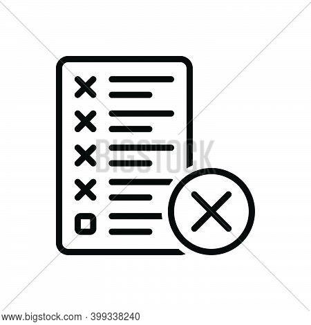 Black Line Icon For Mistake Error Message Assignment Manuscript Editing