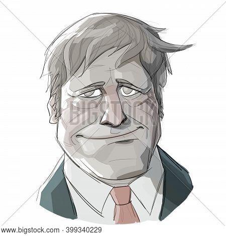 Dec 14, 2020, Auckland, New Zealand: Caricature Illustration Of Alexander Boris De Pfeffel Johnson,