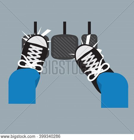 Men? Feet Pushing On The Accelerator And Clutch, He Is Driving In A Fair Gear Vector Illustration. E