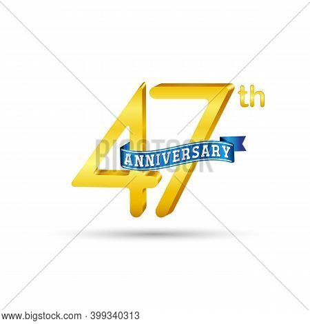 47Th Golden Anniversary Logo With Blue Ribbon Isolated On White Background. 3D Gold Anniversary Logo