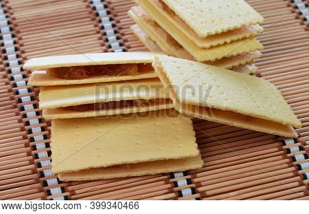 Thai Traditional Pineapple Stuffed Crackers On Bamboo Mat