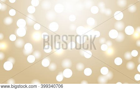 Light Bokeh Gold Background. Festive Defocused Lights. Holiday Glowing White Lights With Sparkles. B