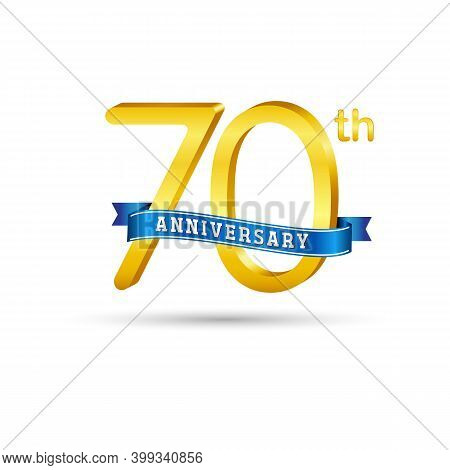 70Th Golden Anniversary Logo With Blue Ribbon Isolated On White Background.