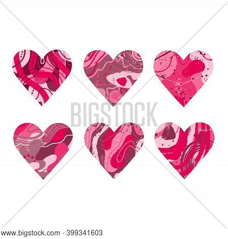 Abstract Pink Heart With The Texture Of Stone, Dots, Spots. Silhouette In The Shape Of A Heart. Desi