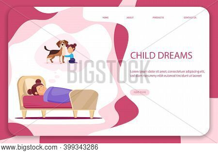 Childhood Dream. A Little Girl In A Dream Dreams Of A Dog. Vector Illustration
