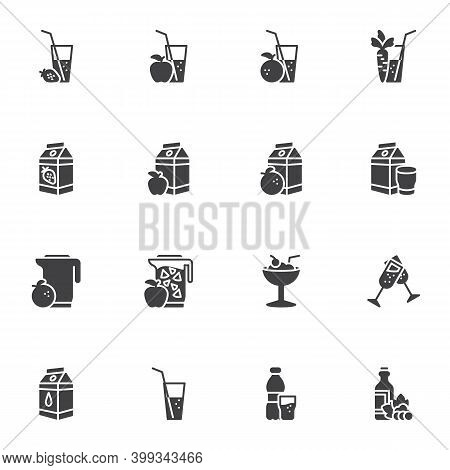 Soft Drinks Vector Icons Set, Modern Solid Symbol Collection, Filled Style Pictogram Pack. Signs, Lo