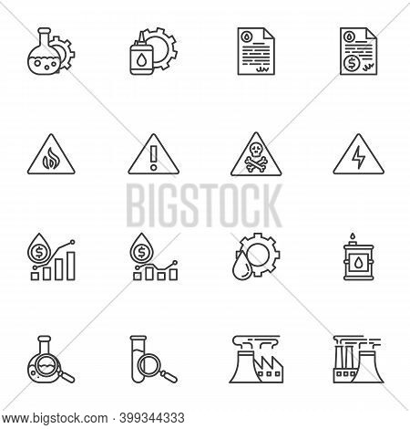 Oil Industry Related Line Icons Set, Outline Vector Symbol Collection, Linear Style Pictogram Pack.