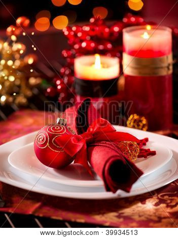 Christmas Table Setting. Holiday Decorations. Decor. New Year Celebration