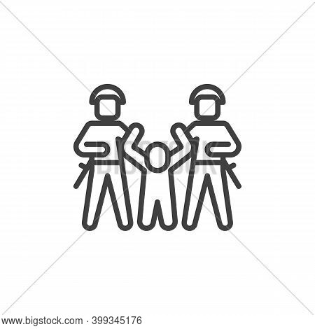 Police Arresting Protester Line Icon. Linear Style Sign For Mobile Concept And Web Design. Police Ar
