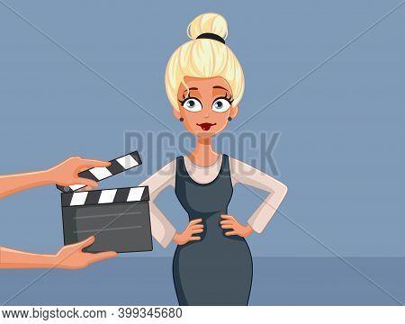 Beautiful Professional Actress Acting On Set Vector Cartoon