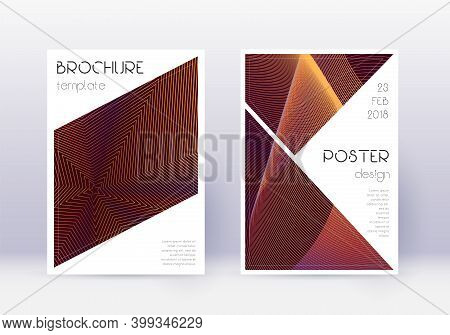 Triangle Cover Design Template Set. Orange Abstract Lines On Wine Red Background. Ideal Cover Design