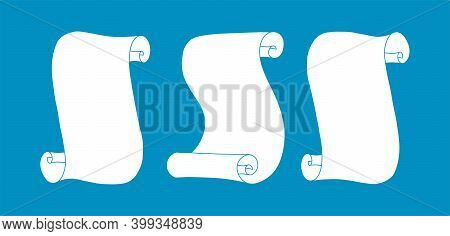 Diploma Scrolls. Set Of Manuscript Scrolls Isolated In White Background. Vector Illustration In Dood