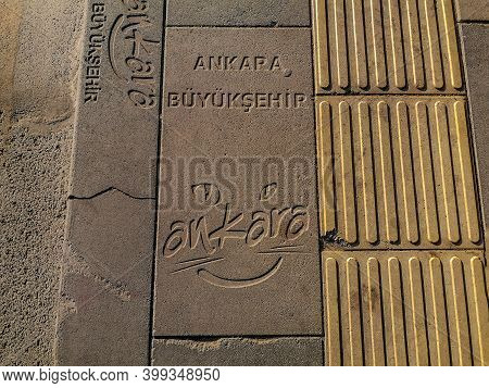 Turkey, Ankara - October 23, 2019: Paving Slabs With Engraving Ankara Buyuksehir, Close-up. Old Ston