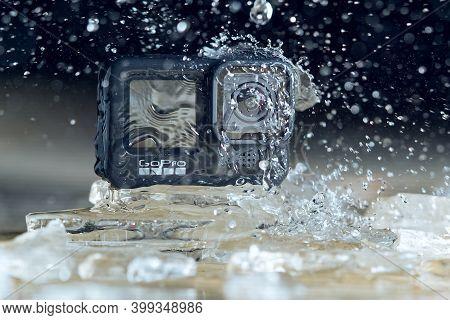 Tallinn, Estonia - December 11, 2020: Gopro Hero 9 Black Action Camera Outdoors. Waterproof Action C