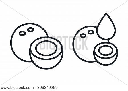 Coconut And Coconut Milk Icon. Vector Linear Icon, Contour, Shape, Outline. Thin Line. Modern Minima