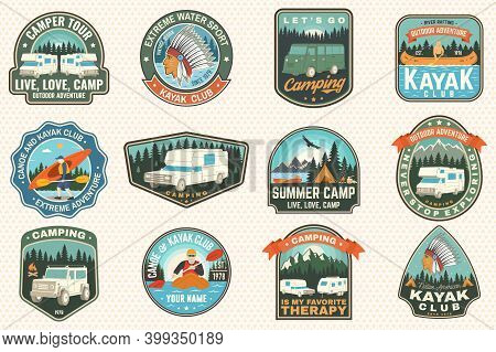 Set Of Summer Camp, Canoe And Kayak Club Badges. Vector. For Patch, Stamp. Design With Camping, Moun