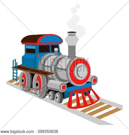 Vector Steam Locomotive. Toy Locomotive On A White Isolated Background.