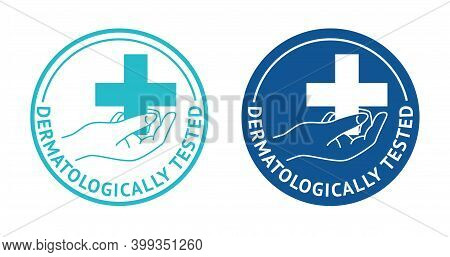Dermatologically Tested Stamp - Human Hand Holding Medical Cross - Quality Testing Proven Emblem For