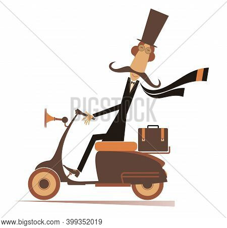 Mustache Man Drives A Scooter Isolated Illustration. Cartoon Mustache Man In The Top Hat Drives A Sc