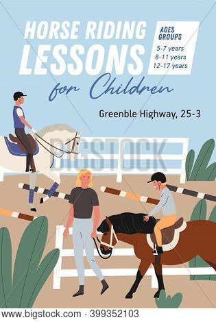 Promotional Poster For Horse Riding School Or Lessons For Children. Advertising Banner For Jockey Co