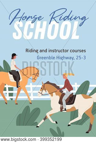 Advertising Colorful Poster For Horse Riding School. Promotional Template For Jockey Courses. Vertic