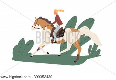 Equestrienne Riding Horse Outdoors. Jockey Ride Stallion Outside. Scene Of Horseback In Nature And A