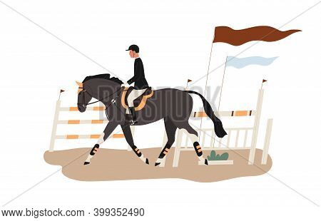 Young Horseman At Racecourse Or Equestrian Tourney. Man Riding Horse At Competition. Jockey At Raceh