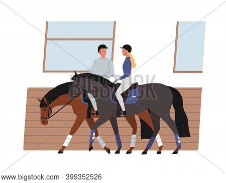 Young Couple Riding Horses. Scene Of Horseback And Active Recreation. Cheerful Horseman And Horsewom